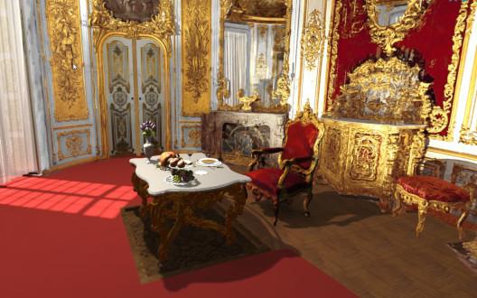 VR Abbildung vom Speisezimmer im Schloss Linderhof
