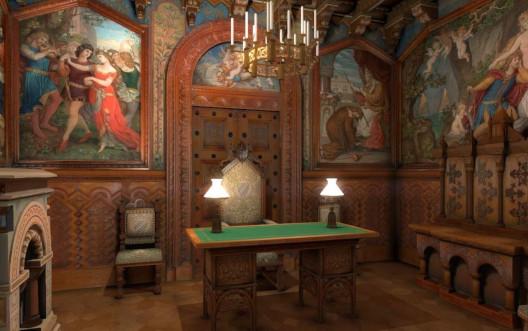 virtuelle 3D Simulation des Arbeitszimmers im Schloss Neuschwanstein
