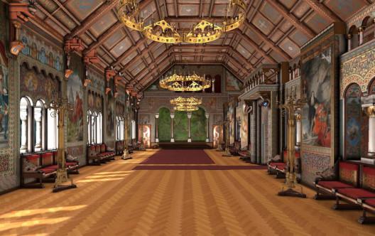 Sängersaal vom Schloss Neuschwanstein in VR