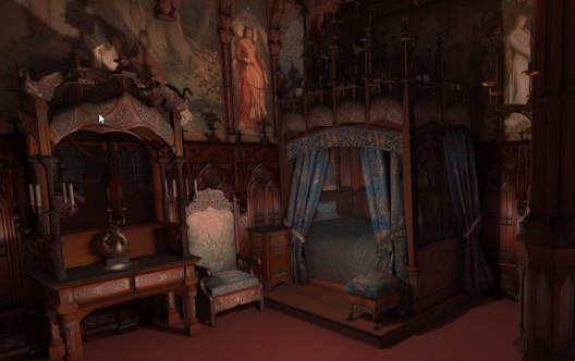 Schlafzimmer im Schloss Neuschwanstein in der virtuellen Version